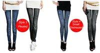 l23 может * 7 печать стиль осень зима искусственного джинсы, как женская женские леггинсы брюки карандаш тонкий эластичный