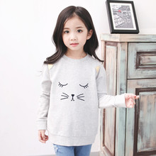2016 New spring&autumn girls clothing T-shirt long sleeves children Sweatershirts Cartoon cat printing bottoming shirt for 2-9yr