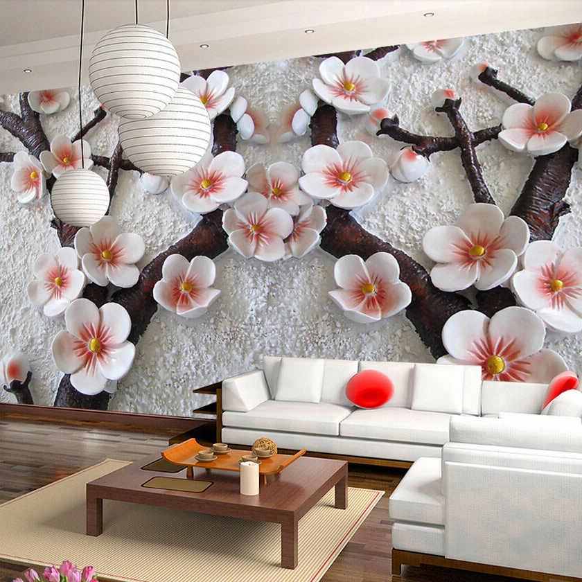 カスタムサイズ 3D エンボス加工桜の花写真壁画壁紙リビングルームのテレビのソファの背景の壁の装飾の壁紙 3D