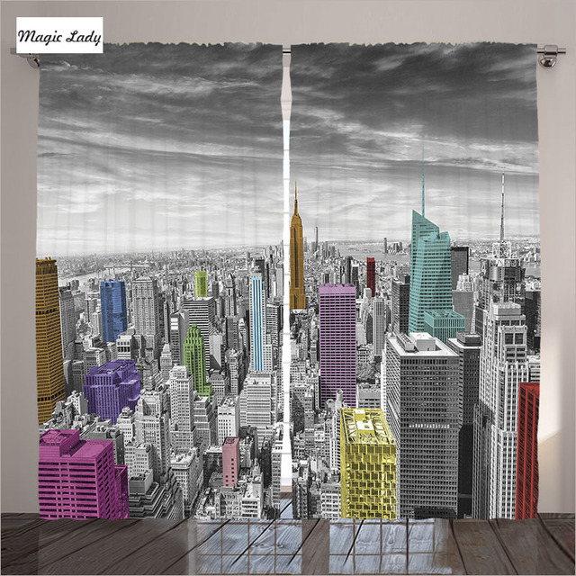Curtains New York City Living Room Bedroom Skyline Modern Grayscale Buildings Decor Gray Pink Yellow 2