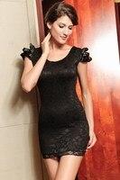 мини-платье кружево, с низким вырезом на спине, клубы платья, клуб, черный / красный / белый цвет, один размер, 2461r