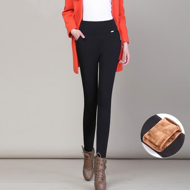 Mulheres Leggings Outwear 2016 Nova Outono Inverno de Cintura Alta Preta Calças Femininas Tamanho Grande Grossa De Veludo Stretch Calças Pés LH372