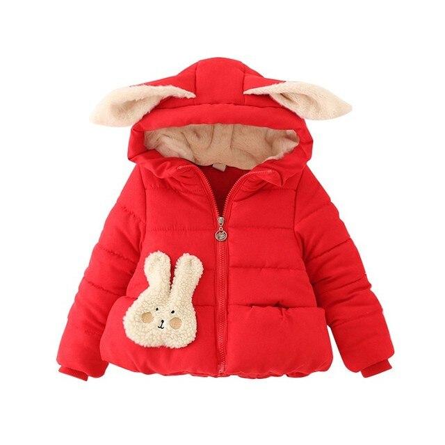 2017 Toddler Baby Girl Kid Winter Warm Cotton Rabbit Hooded Jacket Outwear Coat RZ