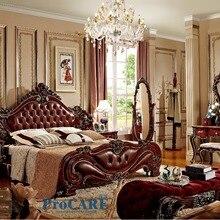 Американский стиль мебель для спальни набор с красной натуральной кожи кровать из массива дерева, туалетное зеркало, специальная тумбочка и вешалка для пальто-6016