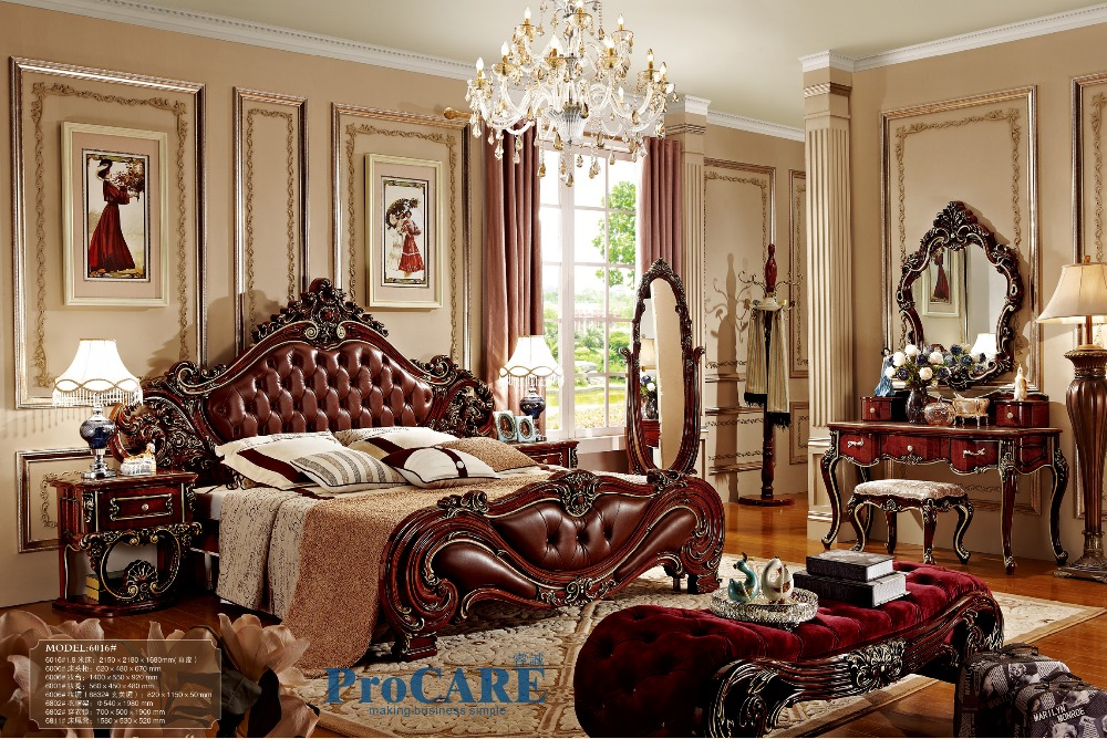 American style bedroom furniture set with red real leather solid wood bed,  dressing mirror,special nightstand and coat rack-6016