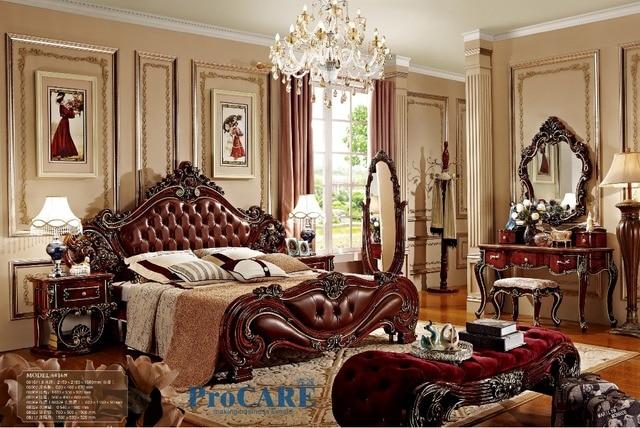 € 2792.68 |Ensemble de meubles de chambre à coucher de style américain avec  lit en bois massif en cuir véritable rouge, miroir de dressage, table ...