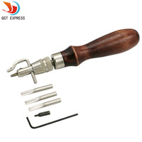 1 Set 5 in 1 Pro Leather Craft Adjustable Stitching and Groover Crease Leather Hand Tool