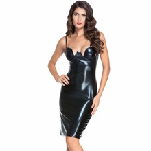 Women Knee Length Dresses PU Leather Bustier Pencil Celebrity Bodycon Sexy Vestidos Kim Kardashian Pu Pvc Girls Dress AA60576