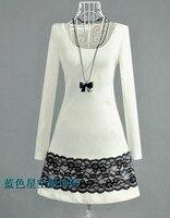 бесплатная доставка новых женщин корея мода свободного покроя платье из хлопка женское платье twinset с с200