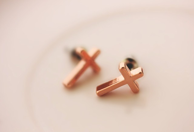 Zh0430 Ivy New Arrive Good Quality Anium Rose Gold Plated Earrings Small Cross