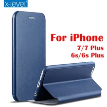Luxury X-Level High-quality Classic Flip Leather Case For iPhone 7 7 Plus 6s 6s Plus with Retail Box