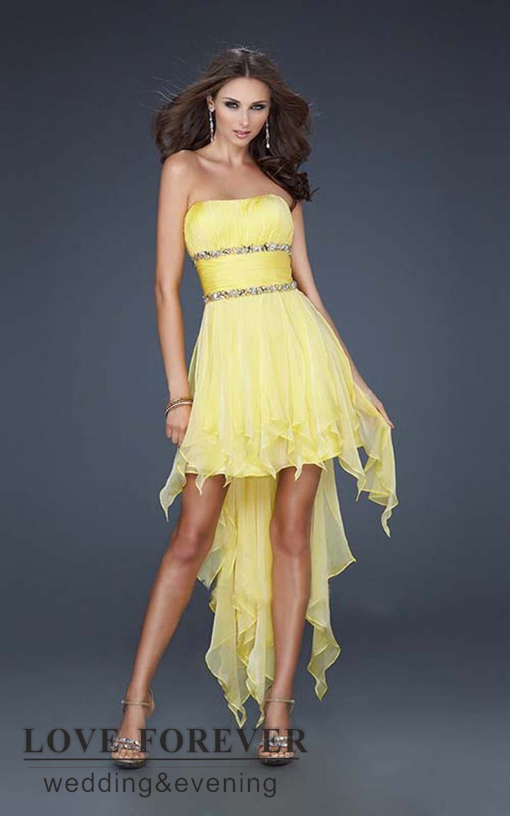Light Yellow Strapless Dresses