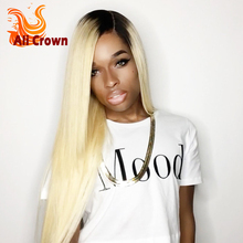 Ombre Lace Wig Blonde Full Lace Wig Virgin Human Hair Straight Ombre Wig Brazilian Lace Front Wigs For Black Woman 1B/613 Color