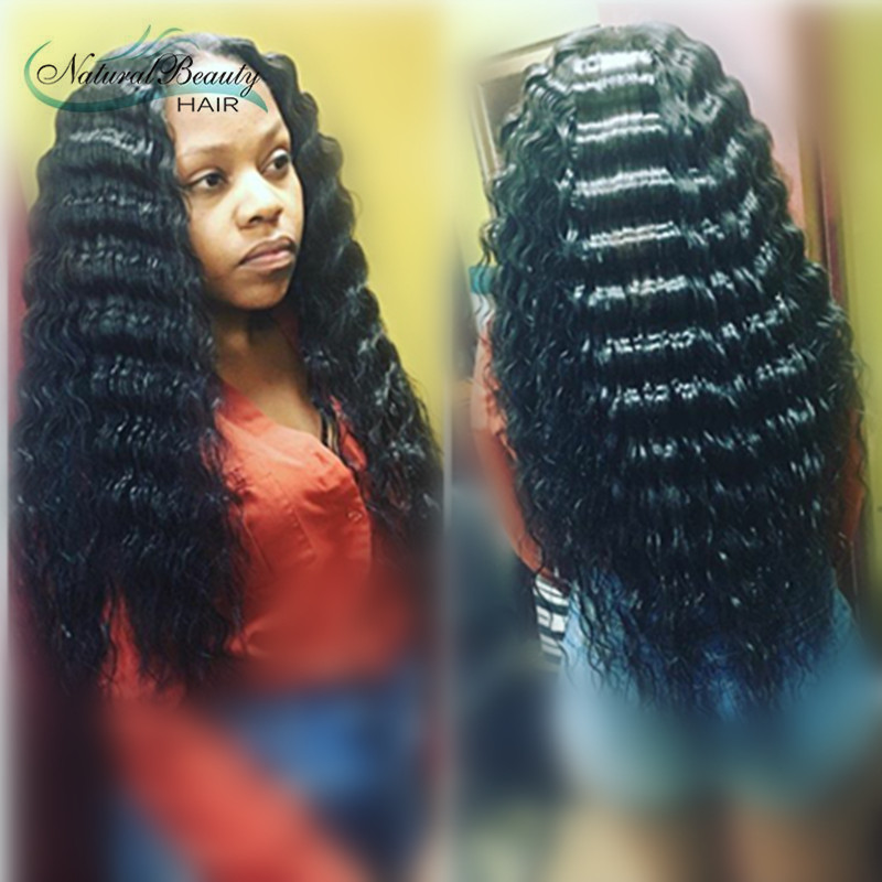 Top Quality Virgin Brazilian Front Lace Wigs Glueless Full Lace Wigs Deep Wave Remy Human Hair
