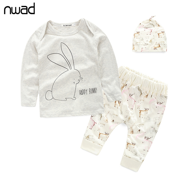 3 PCS /Set 2016 New Baby Girl Boy Clothes Toddler Bunny Clothing Set For Newborn Baby  Long Sleeve T Shirt+Pants + Hat FF014