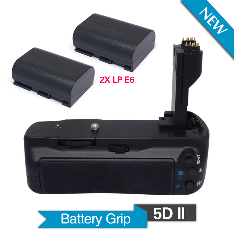 Meike MK-5D II Vertical Battery Grip with 2pcs LP-E6 batteries for Canon EOS 5D Mark II DSLR Camera as BG-E6 meike mk 5d4 vertical battery grip for canon eos 5d mark iv as bg e20 compatible camera works with lp e6 or lp e6n battery