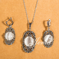 JENIA Vintage Look Antique Silver Plated Victoria Style White Opal Necklace and Earring Jewelry Sets for Women XS124