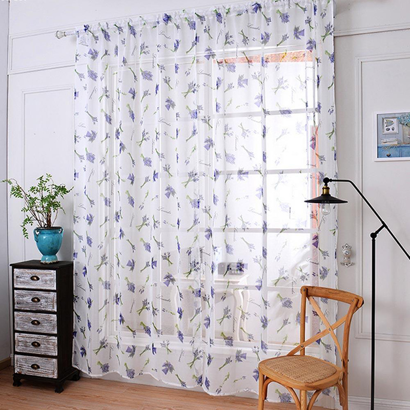 Rustic Style Window Curtain Purple / White Butterfly Designer Tulle Voile  Fabric Transparent Sheer Curtains For