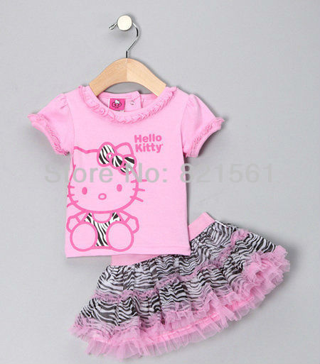 19b6d61a3a2a1 cartoon hello kitty KT cat childrens clothing suit 2 pcs sets girl's tops  coat t shirts