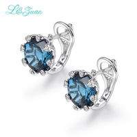 L&zuan Real 925 Sterling Silver 8.34ct Natural Topaz Shine Round Stone Elegant Clip Earrings For Women Wedding Party Accessories