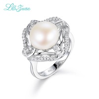 I&Zuan S925 Sterling Silver Pearl Rings For Women White Freshwater Diameter 9~10mm Round Pearl Flower Ring Luxury Fine Jewelry