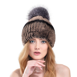 Women Russia Elastic Ear Caps Winter 2016 New Knitted Real Rex Rabbit Fur Beanies With Genuine Fox Fur Ball Top Hats LH332