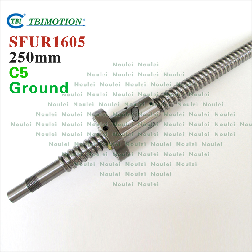 TBI 1605 C5 250mm ball screw 5mm lead Ground with SFU1605 ballnut + end machined for CNC z axis diy kit tbi 2510 c3 620mm ball screw 10mm lead with dfu2510 ballnut end machined for cnc diy kit dfu set