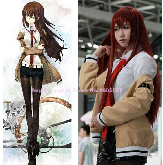Anime Steins Gate Kurisu Makise Cosplay Costume Coat+Shirt+Shorts+Tie+Belt one whole costume on hot sale free shipping