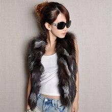 2016 new women's Real silver fox fur vest Winter plus size XS 4XL 5XL 6XL