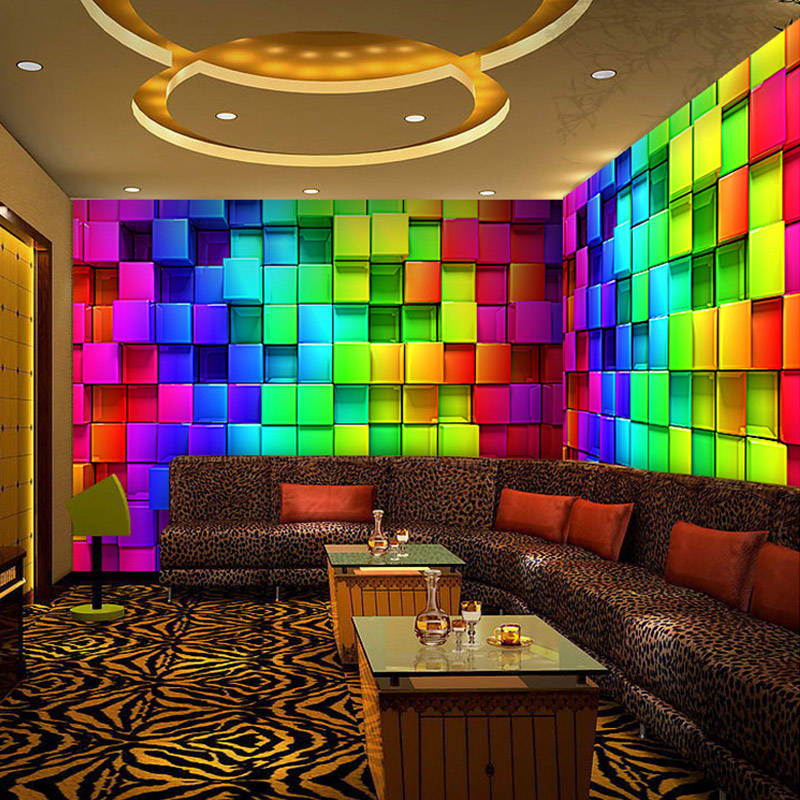 Home Design 3d Remove Wall: Colorful 3D Stereo Cube Wall Paper For Night Club House