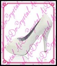 Aidocrystal Design Modern Indian Bridal Rhinestone white Crystal Wedding fish mouth Shoes