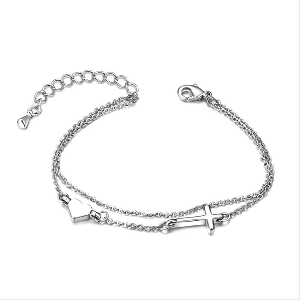 2017 Hot Heartshaped And Cross Copper Bracelet Bracelace Ankle Chain  Fashion Women Jewelry