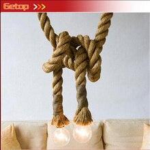 ZX Loft Industrial Retro Wicker Hemp Rope Chandelier Clothing Store Cafe Restaurant Pendant Lamp DIY Bar