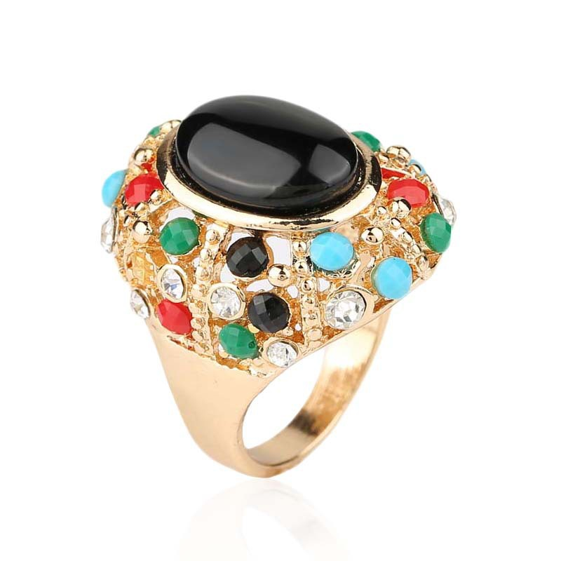 OMENG 2017 Unique Vintage Gold Rings For Women Alloy Resin Classic