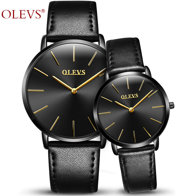 2018 OLEVS Brand Lover <font><b>Watches</b></font> Quartz <font><b>Couple</b></font> <font><b>Watch</b></font> <font><b>Man</b></font> <font><b>and</b></font> <font><b>Ladies</b></font> Genuine Leather Women Waterproof 30m Wristwatches montre homme image