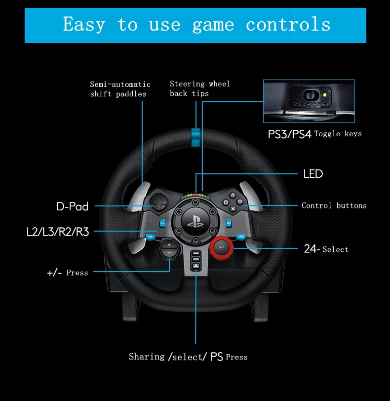 US $666 5  racing steering wheel PC game Logitech G29 PS3/PS4 need for  speed steering wheel 900 degree analog G27 upgrades-in Video Games Wheels  from