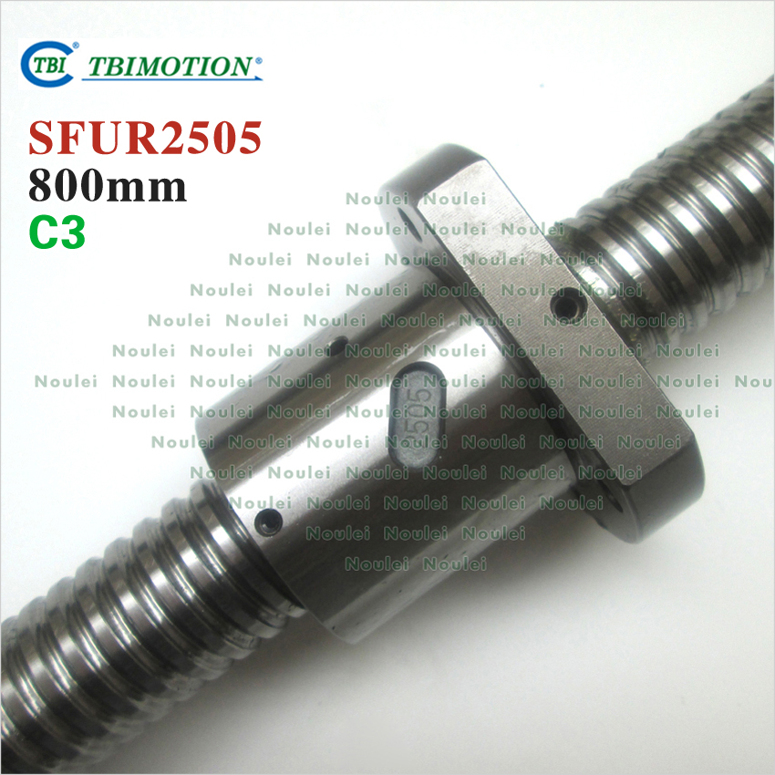TBI  2505 C3 800mm  ballscrew  5mm lead Ground with SFU2505 ballnut винт tbi sfkr 0802t3d
