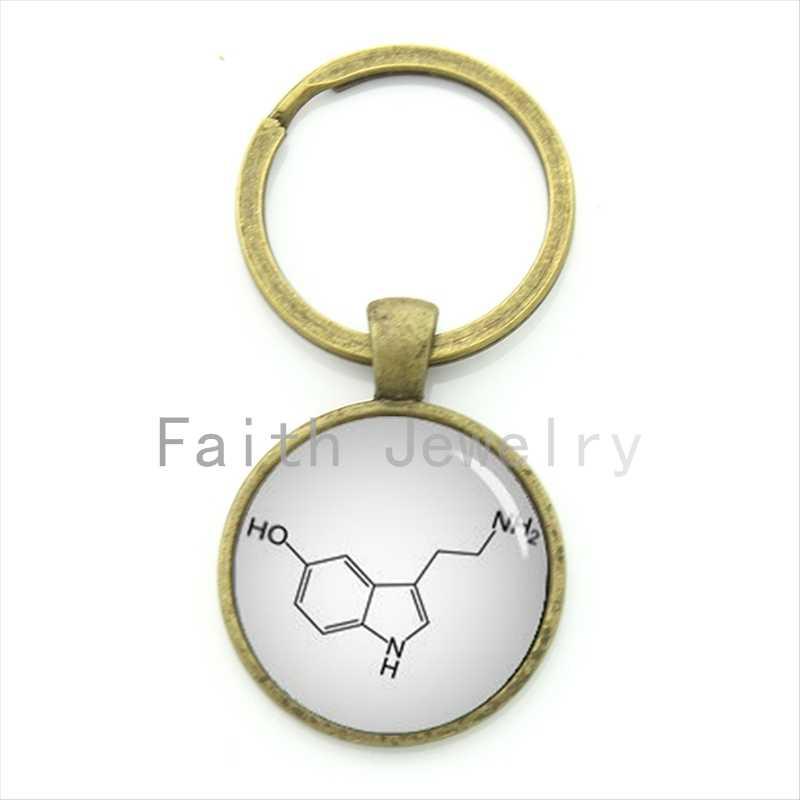 Novedad TAFREE, regalo de los estudiantes, llavero con fórmula química de Serotonin, llavero para biología química, llavero para hombre y mujer, joyería KC509