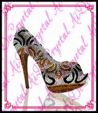 Aidocrystal handgefertigte high quality mischungsfarbe strass frauen plattform high heel pumps sexy peep toe schuhe