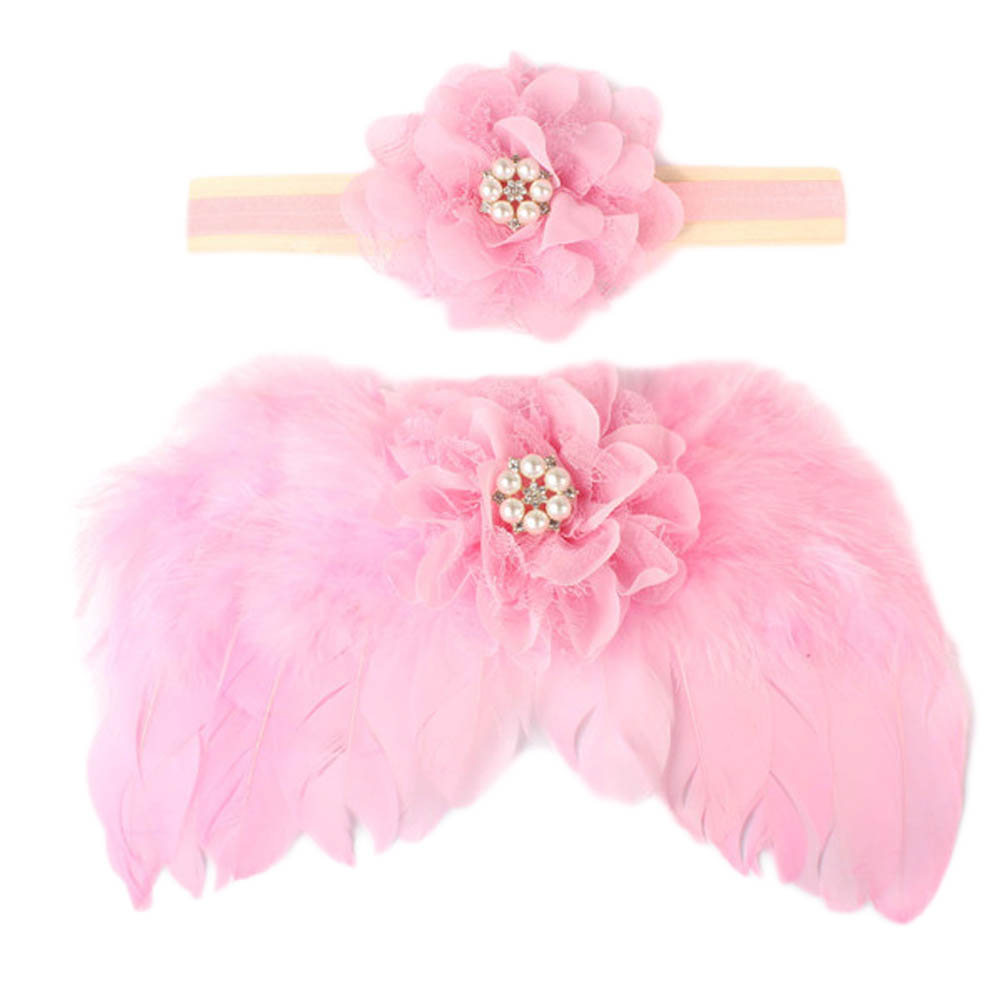 Newborn Photography Props Crochet Knit Costume Cute Angel Wing Photo Baby Girls Flower Pearl Headband Clothes Accessories