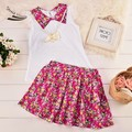 New Children Kids Girl Floral Dress Printed Dress Set Cap Sleeve Tops and Elastic Waist Casual Dress Drop Shipping 41
