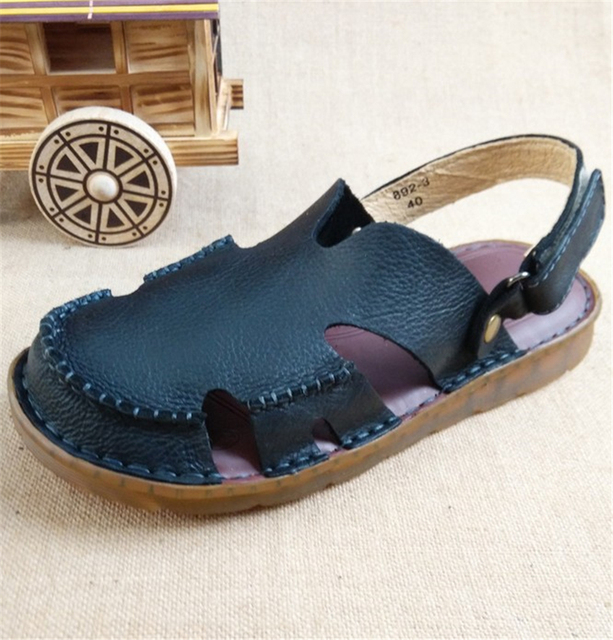 2016 summer new men's Baotou sandals head layer of leather tendon at the end the beach