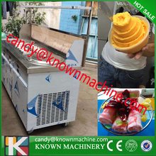from vessel ship New round 220V double pan fry ice cream machine with 10 pot with compressors