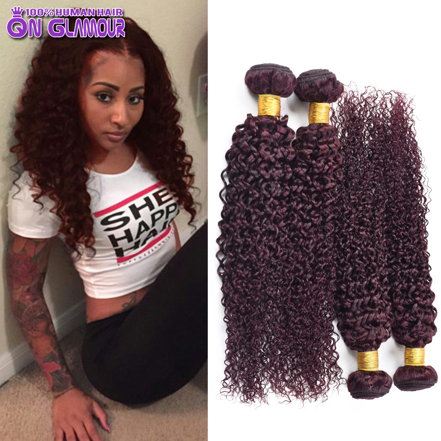Cheap Red Brazilian Kinky Curly Virgin Hair 99j Brazilian Curly Hair