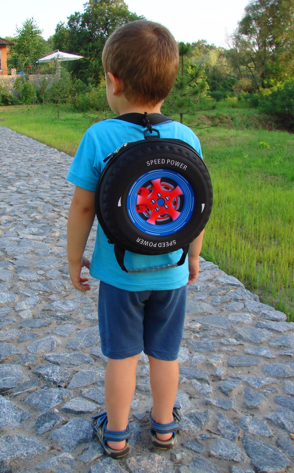 creative 3D kindergarten Animation child Stationery bags cars tire children school bag students travel bag kids cartoon backpack
