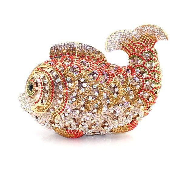 fancy gold fish crystal fashion women wedding purse party clutch evening bag (8662A-G) g sellars an evening idyl