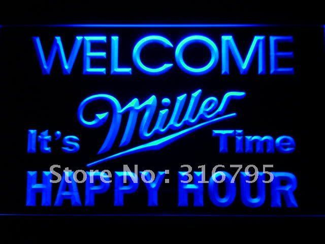 646 Welcome Miller Time Happy Hour Bar LED Neon Sign