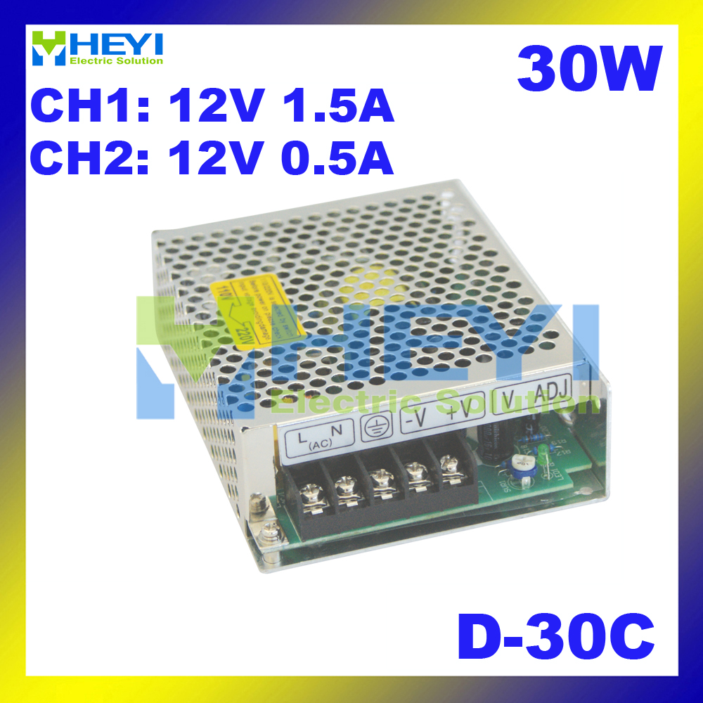 AC to DC dual switching <font><b>power</b></font> <font><b>supply</b></font> D-30C 30W 110 / 220VAC output: <font><b>12V</b></font> <font><b>1.5A</b></font> & 24V 0.5A mini <font><b>power</b></font> <font><b>supply</b></font> image