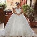 Свадебное Платье Плюс Размер V Шеи Cap Рукавом Аппликация Кружева тюль Бальное платье Белого Принцесса Цветы Свадебное Платье vestido де casamento