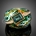 Jenia Bijouterie Gold Plated Austrian Crystal Green Oil Painting Wedding Ring for Men and Women XR114
